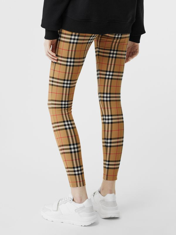 Logo Detail Vintage Check Leggings in Antique Yellow - Women | Burberry United Kingdom - cell image 2