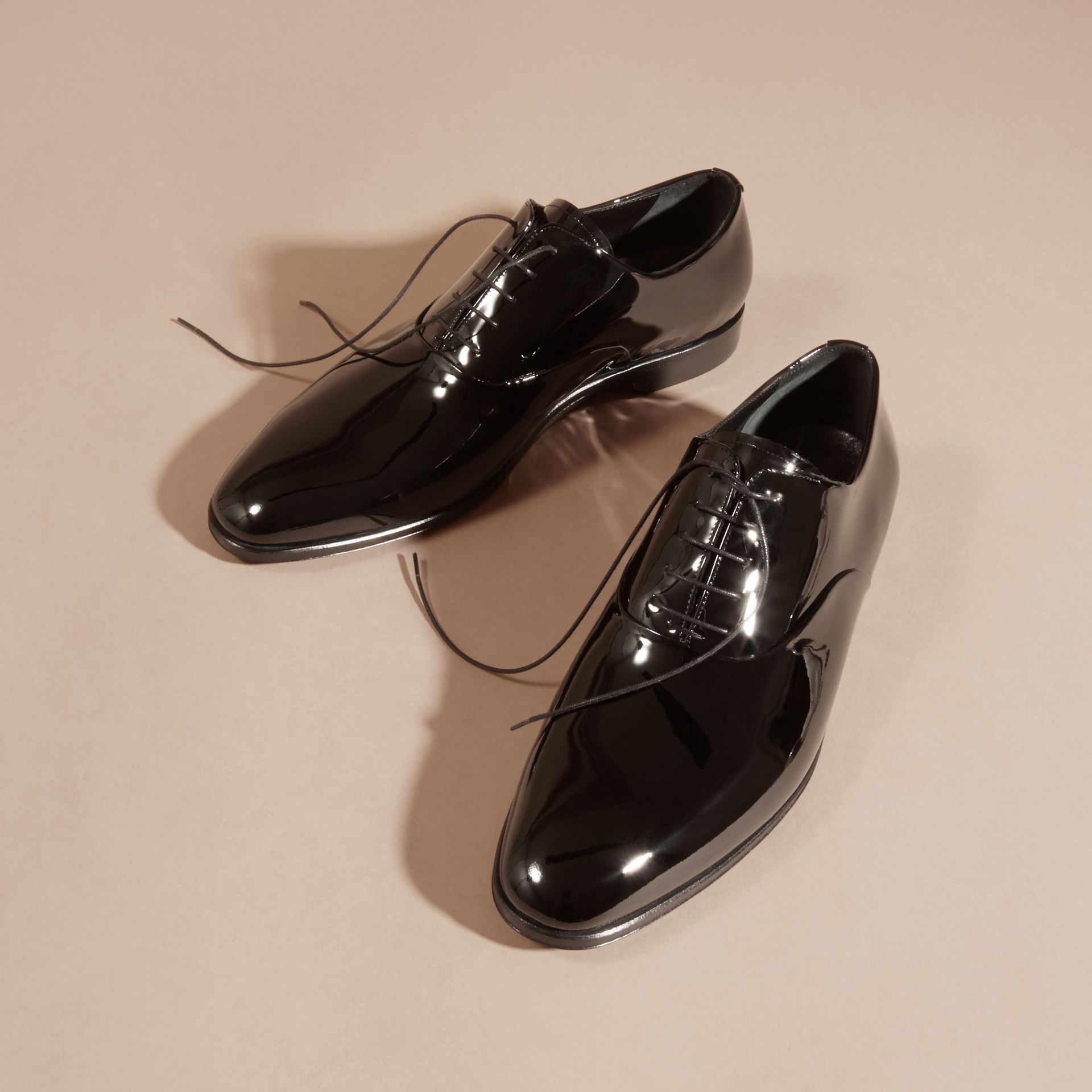Black Polished Leather Lace-up Evening Shoes - gallery image 3