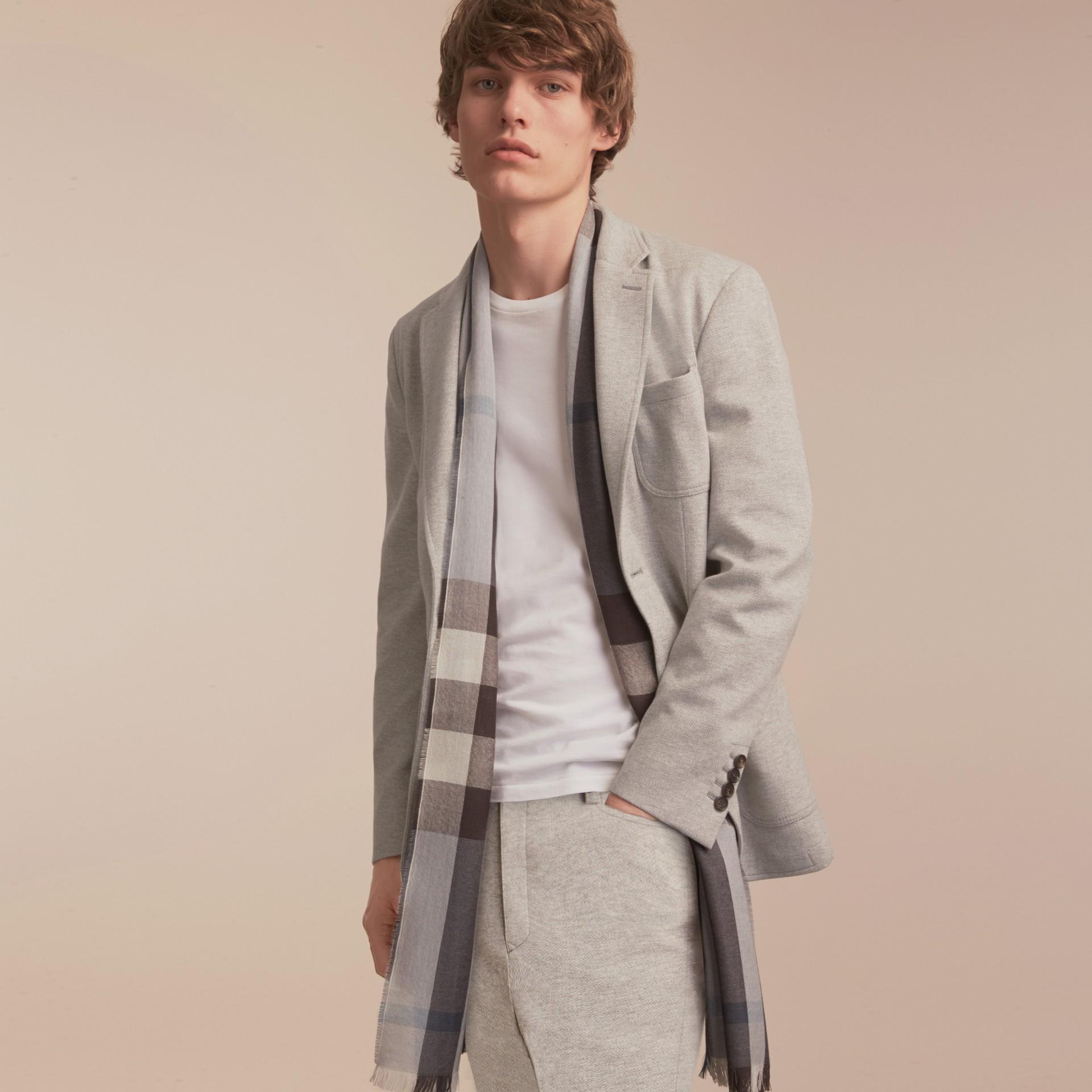 Herringbone Cotton Blend Jersey Blazer - gallery image 7