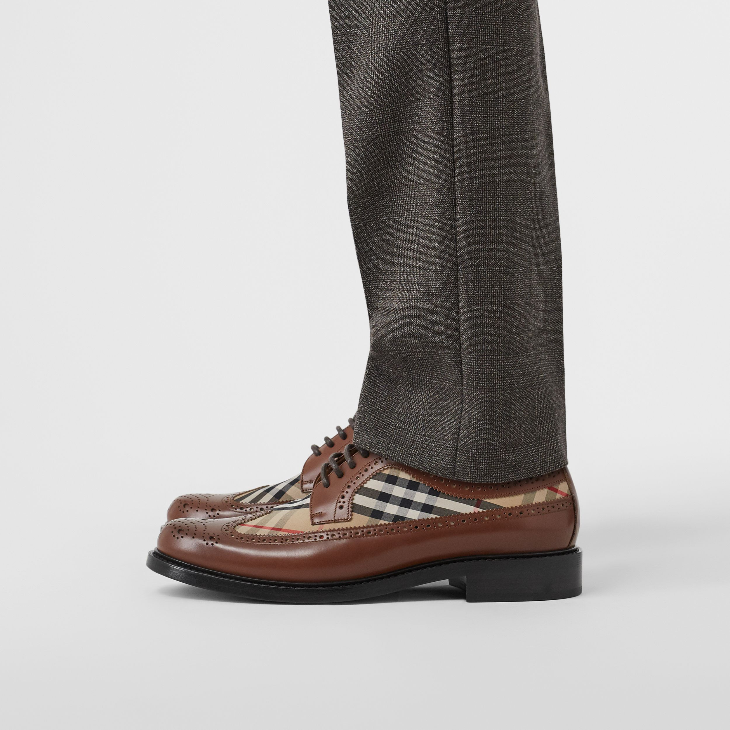 Brogue Detail Leather and Vintage Check Derby Shoes in Tan/archive Beige - Men | Burberry - 3