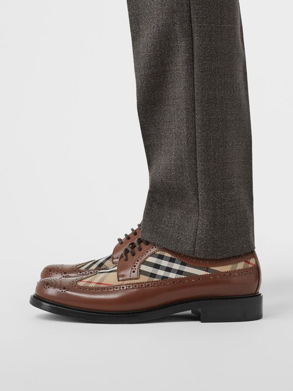 Brogue Detail Leather and Vintage Check Derby Shoes in Tan/archive Beige - Men | Burberry United States - cell image 2