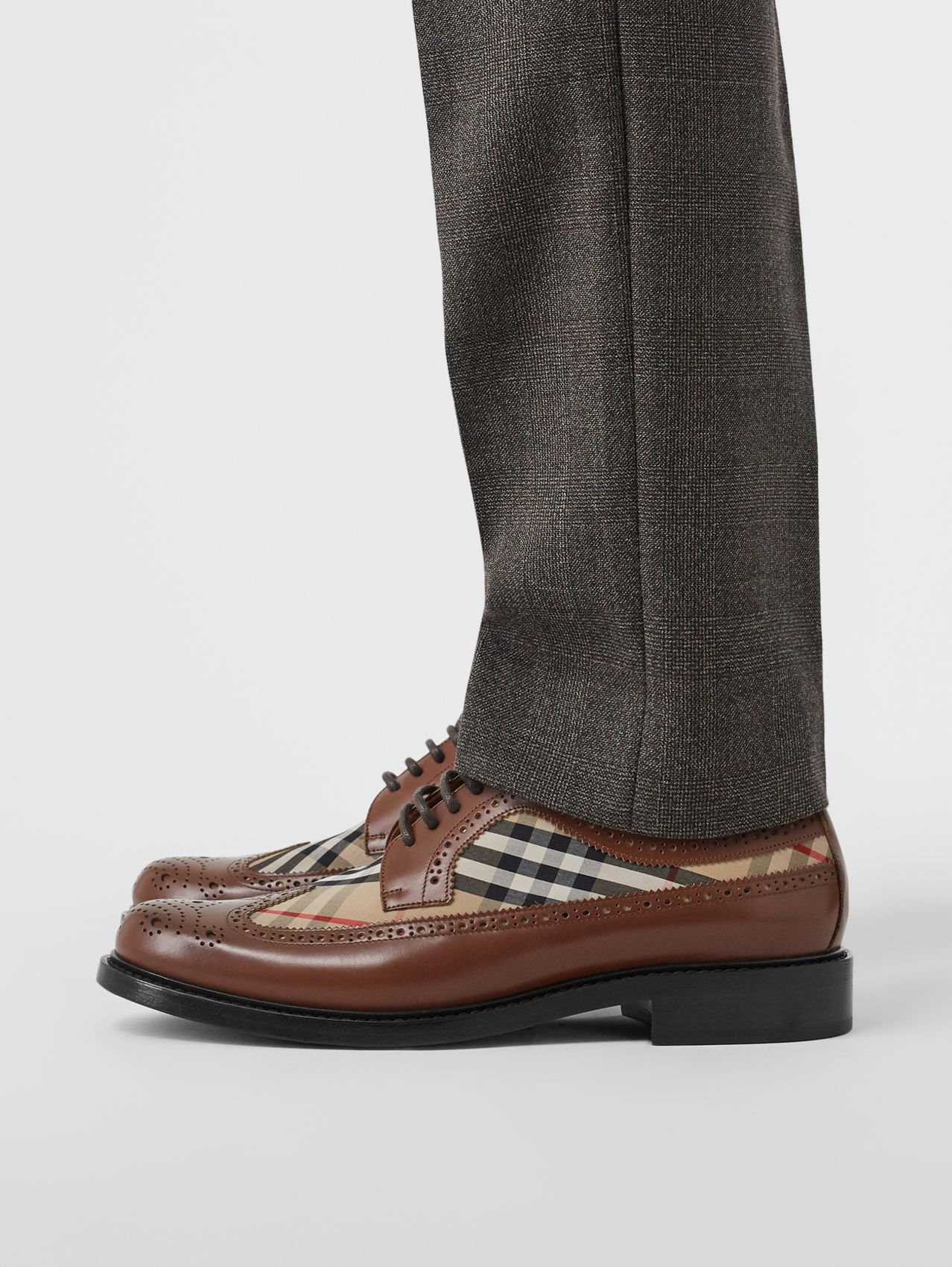 Brogue Detail Leather and Vintage Check Derby Shoes in Tan/archive Beige