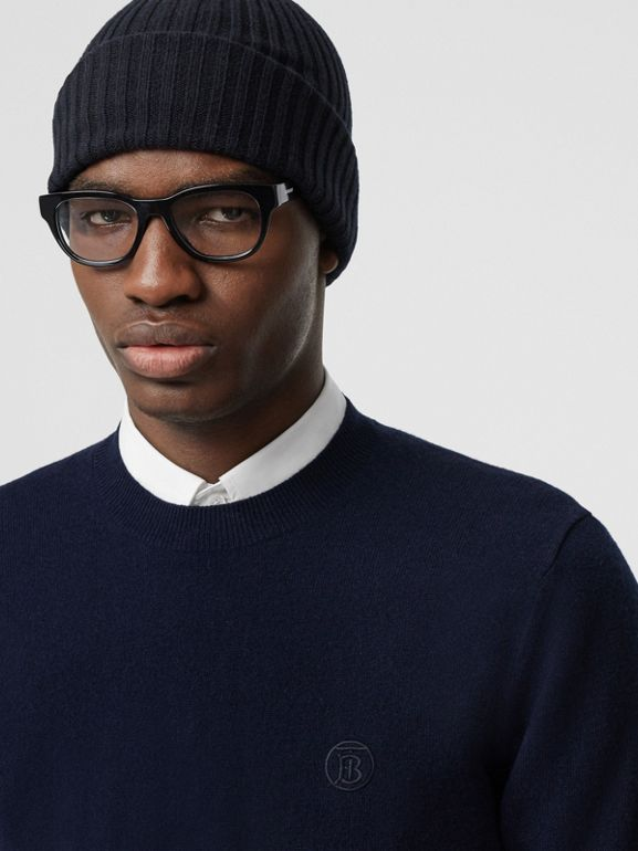 Monogram Motif Cashmere Sweater in Navy - Men | Burberry - cell image 1