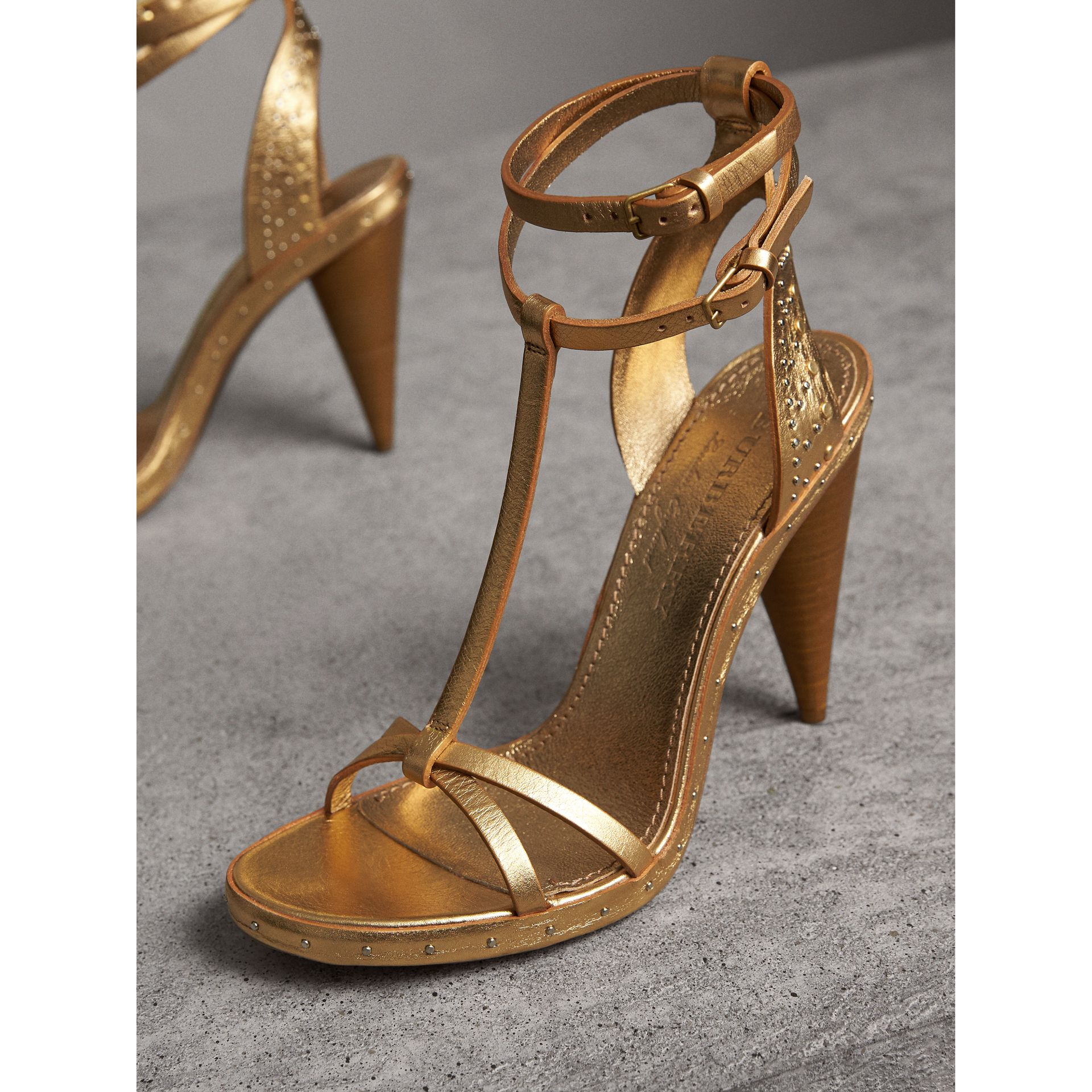 Riveted Metallic Leather Cone-heel Sandals in Gold | Burberry - gallery image 5