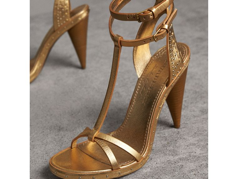 Riveted Metallic Leather Cone-heel Sandals in Gold | Burberry - cell image 4
