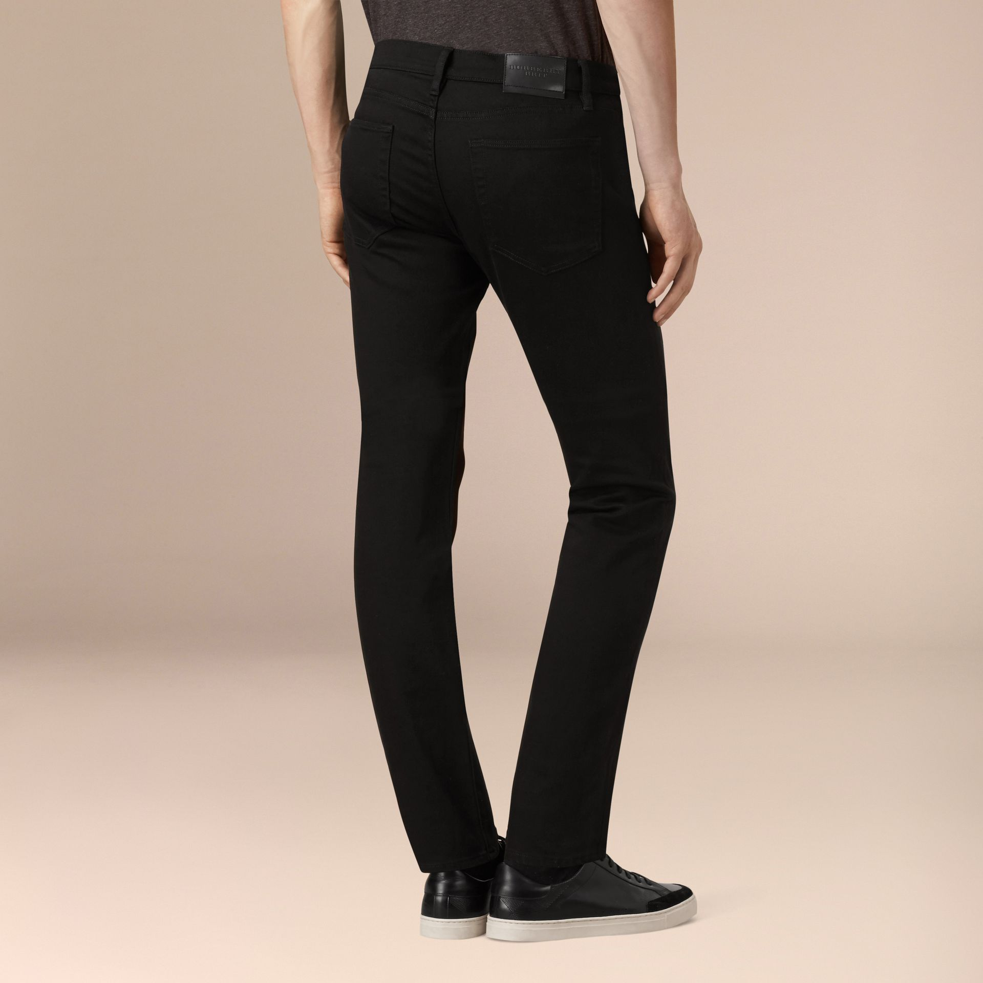 Black Straight Fit Stretch-denim Jeans - gallery image 4