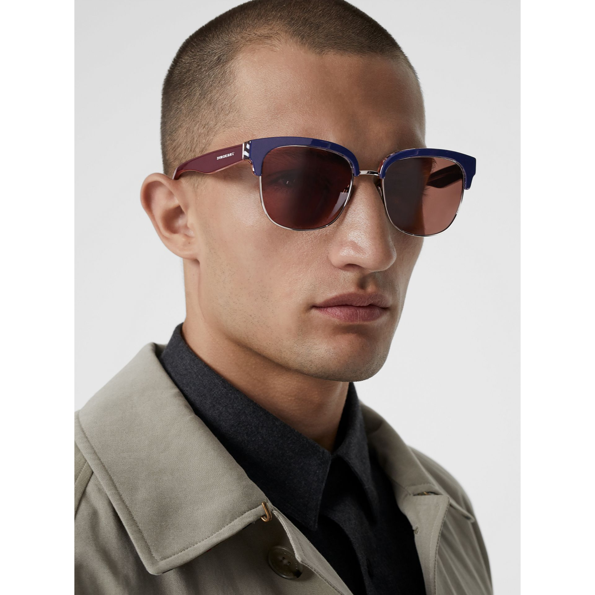 Check Detail D-frame Sunglasses in Blue - Men | Burberry United States - gallery image 3