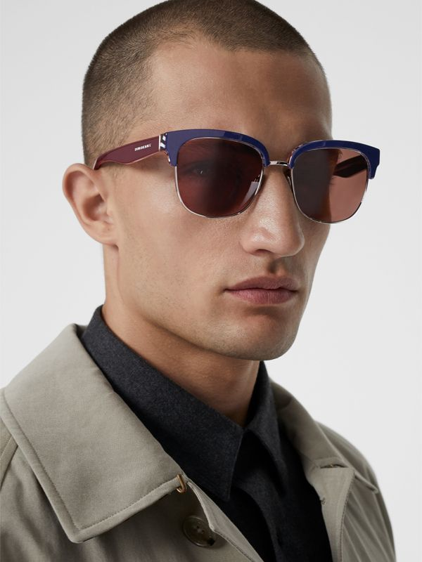 Check Detail D-frame Sunglasses in Blue - Men | Burberry United Kingdom - cell image 3