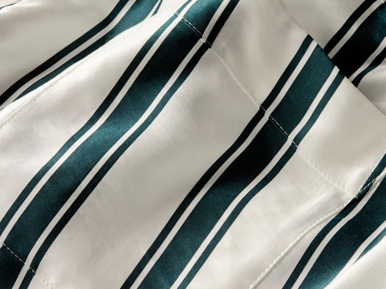 Panama Stripe Cotton Silk Pyjama-style Trousers - cell image 1