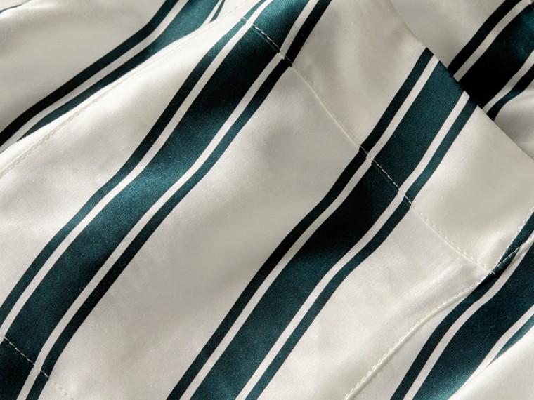 Hose im Pyjamastil aus Baumwollseide mit Panamastreifen - cell image 1