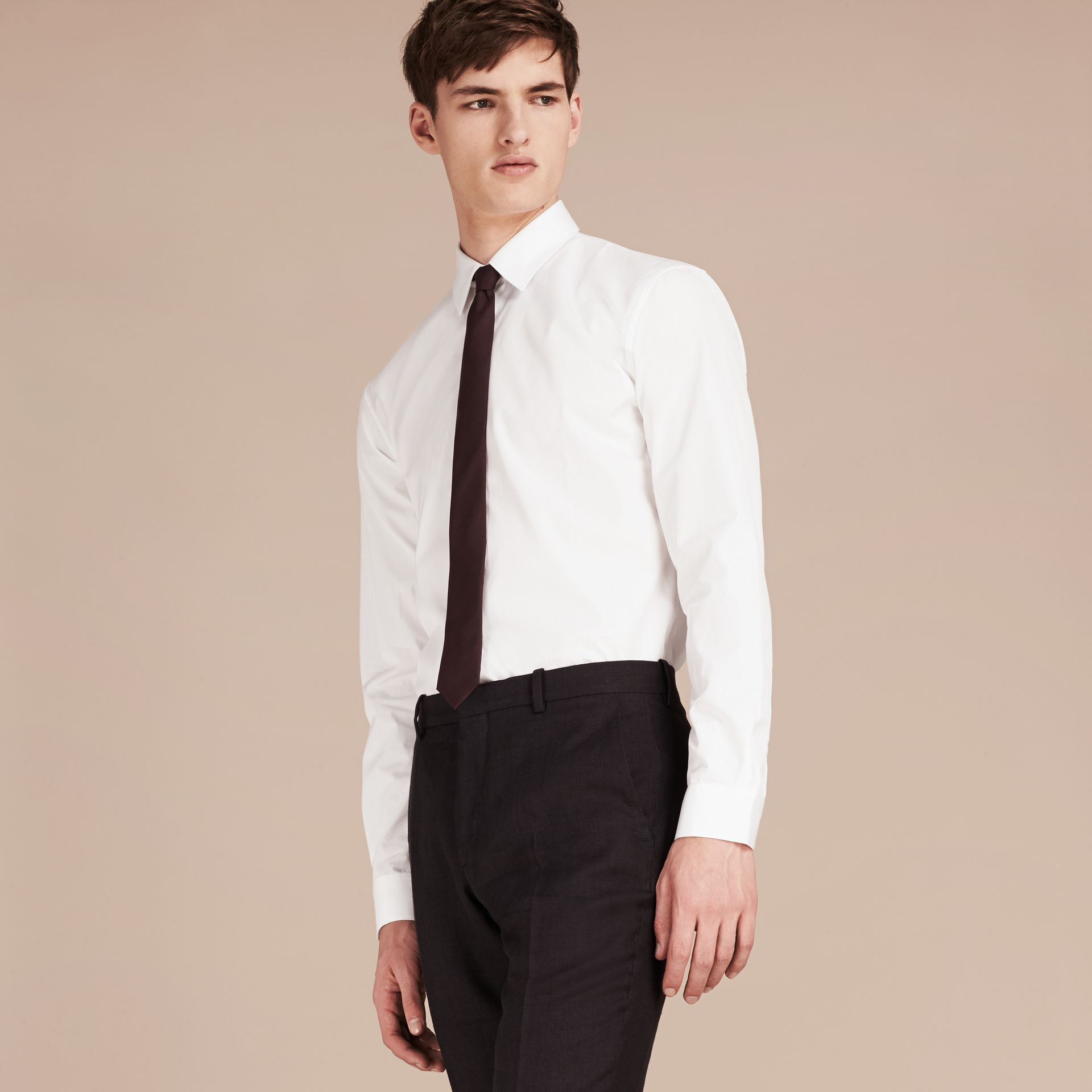 Modern Fit Cotton Poplin Shirt in White - Men | Burberry Singapore - gallery image 6