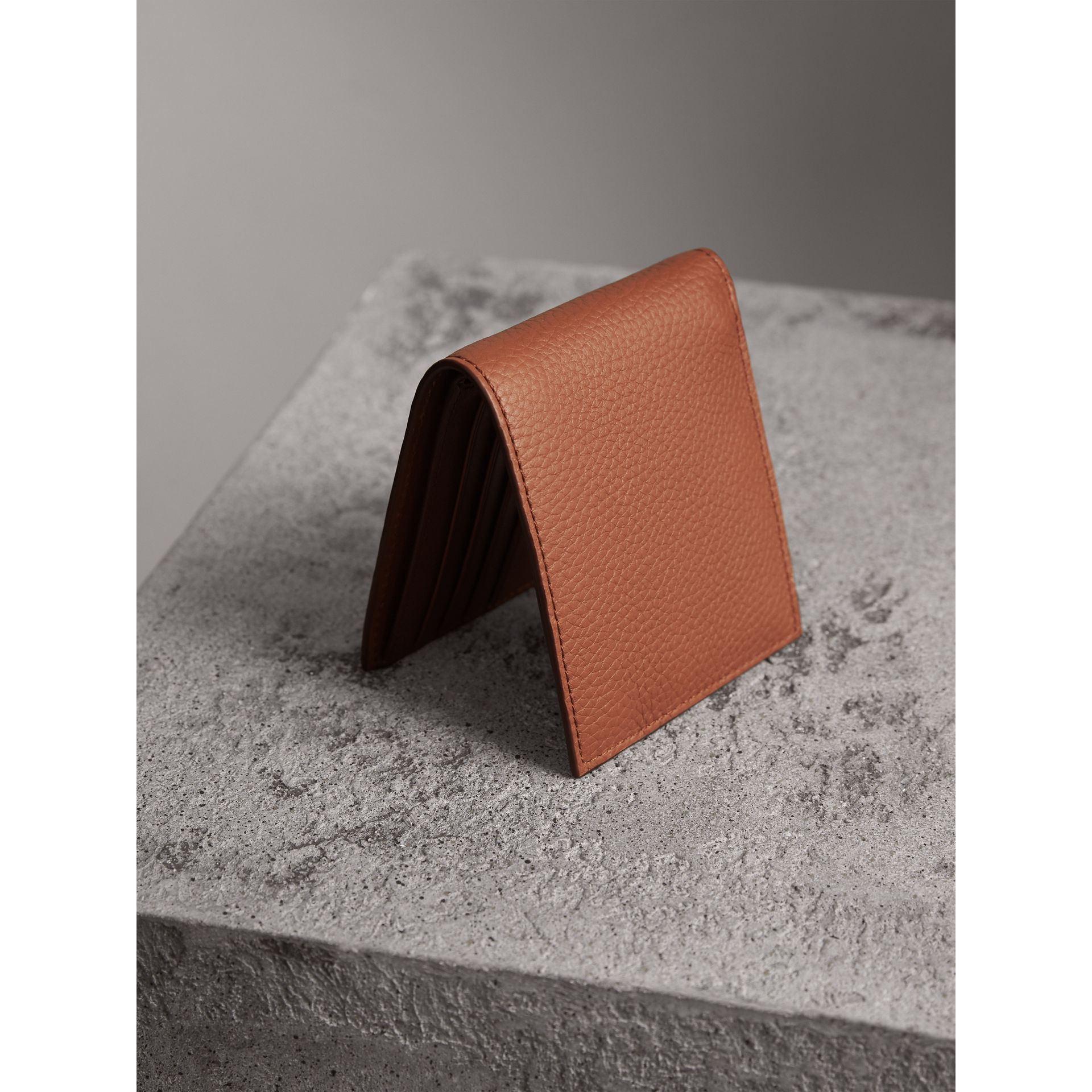 Embossed Leather Bifold Wallet in Chestnut Brown - Men | Burberry Singapore - gallery image 3