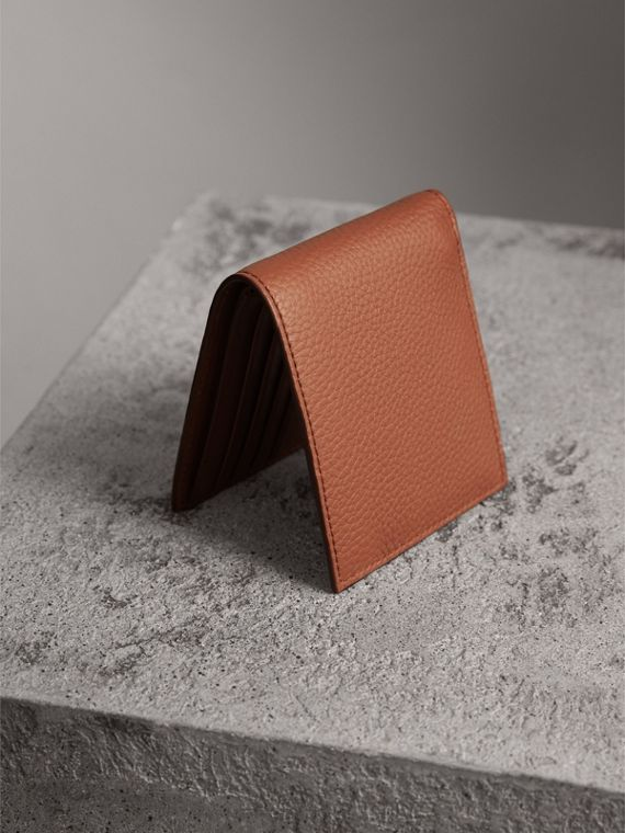 Embossed Leather Bifold Wallet in Chestnut Brown - Men | Burberry - cell image 2