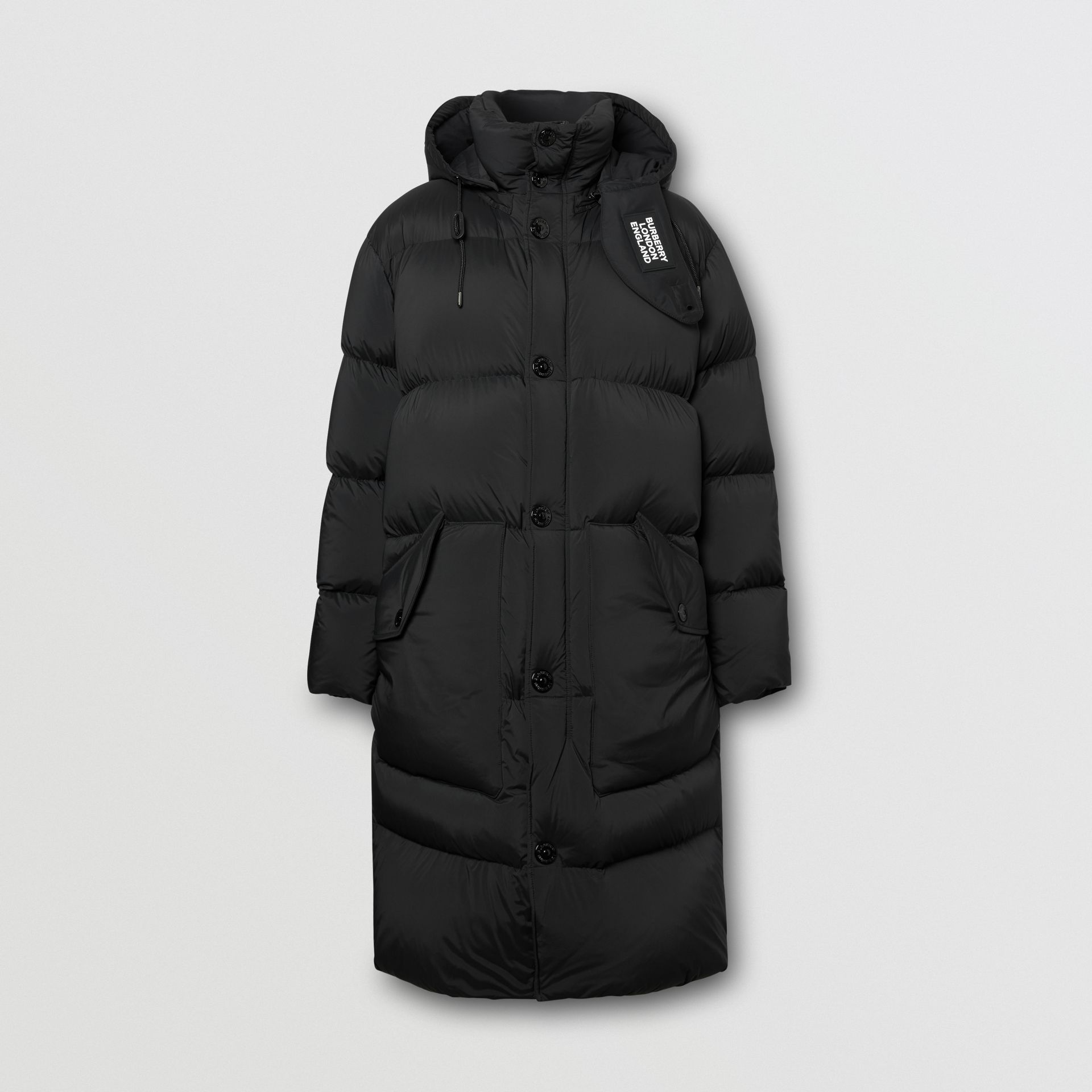 Detachable Hood Stretch Nylon Puffer Coat in Black - Men | Burberry United Kingdom - gallery image 3