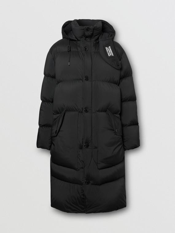 Detachable Hood Stretch Nylon Puffer Coat in Black