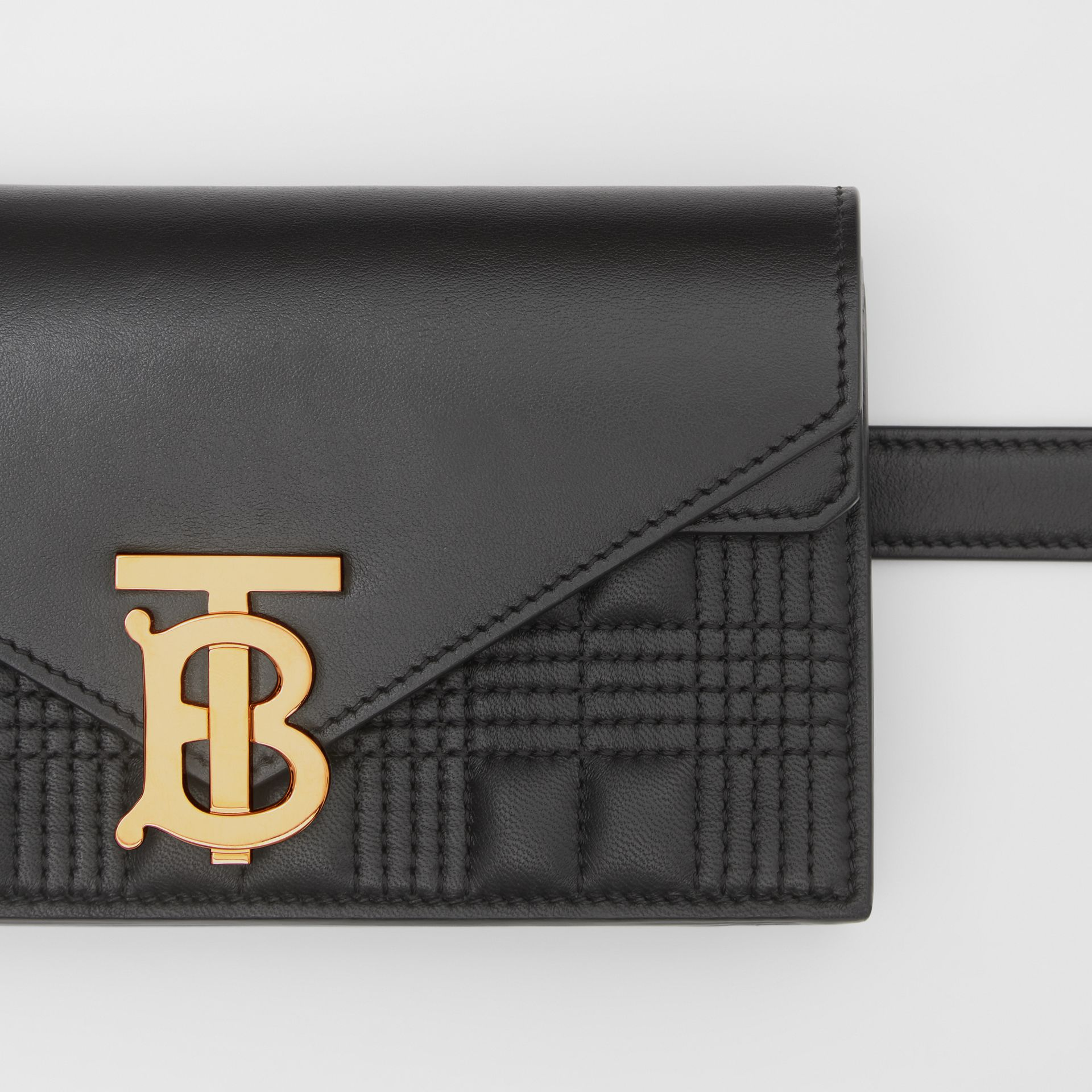 Quilted Lambskin Wallet with Leather Belt in Black - Women | Burberry United Kingdom - gallery image 1