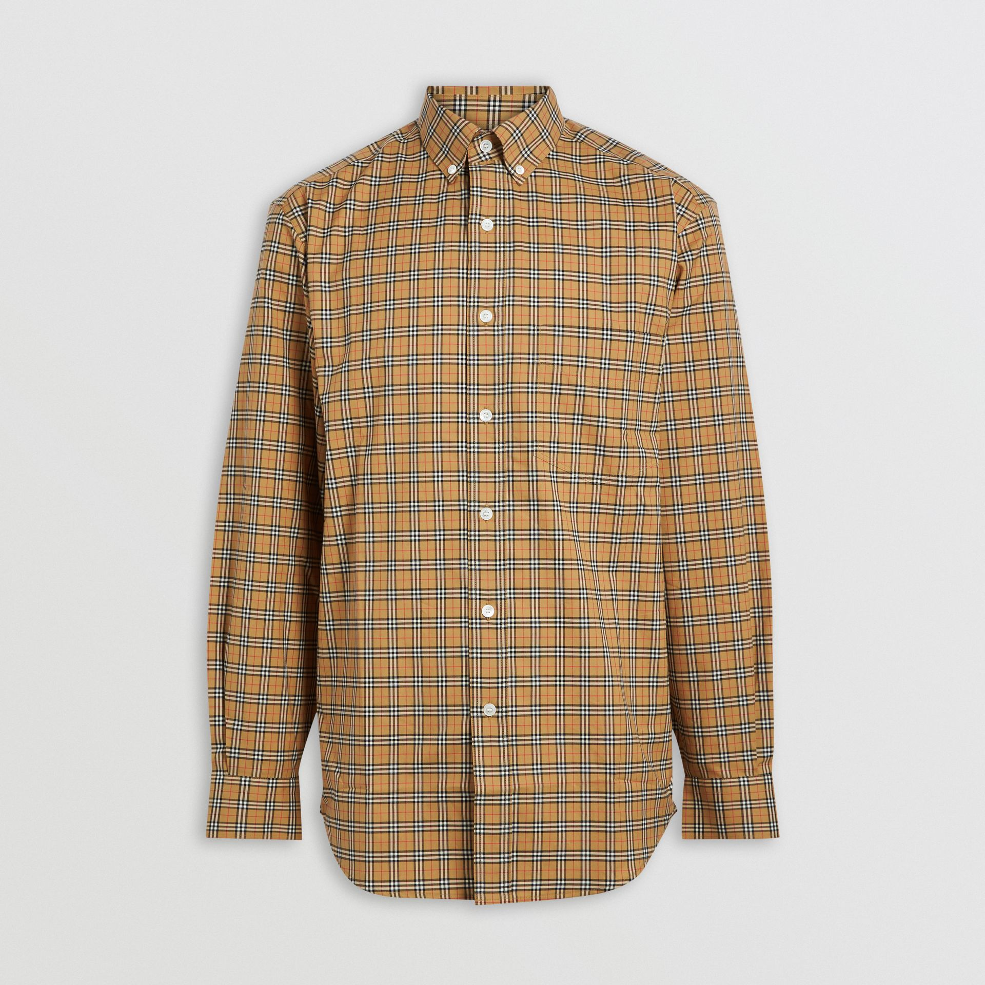 Small Scale Check Cotton Shirt in Antique Yellow - Men | Burberry Canada - gallery image 3