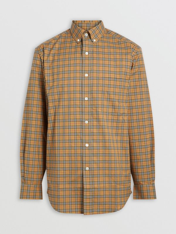 Small Scale Check Cotton Shirt in Antique Yellow - Men | Burberry Canada - cell image 3
