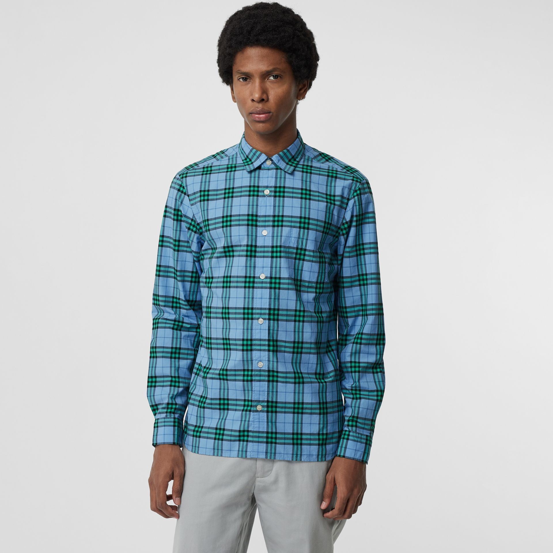 Check Cotton Shirt in Blue Topaz - Men | Burberry Singapore - gallery image 4