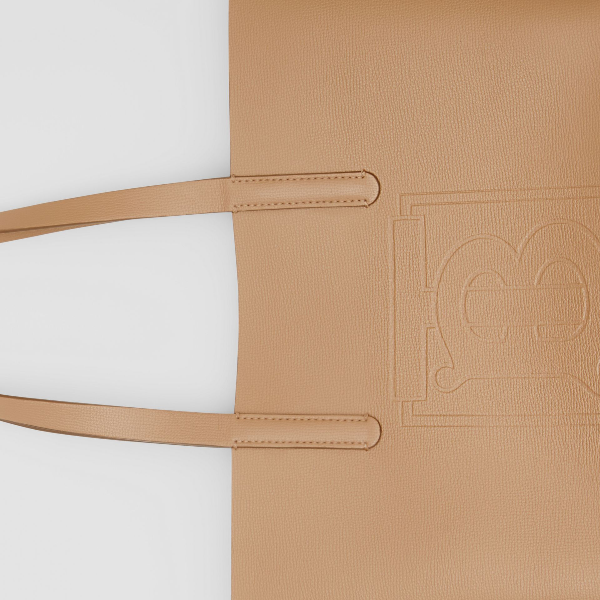 Embossed Monogram Motif Leather Tote in Camel - Women | Burberry - gallery image 1
