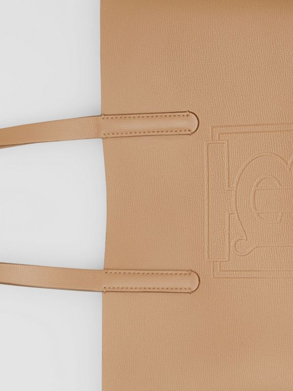 Embossed Monogram Motif Leather Tote in Camel - Women | Burberry - cell image 1