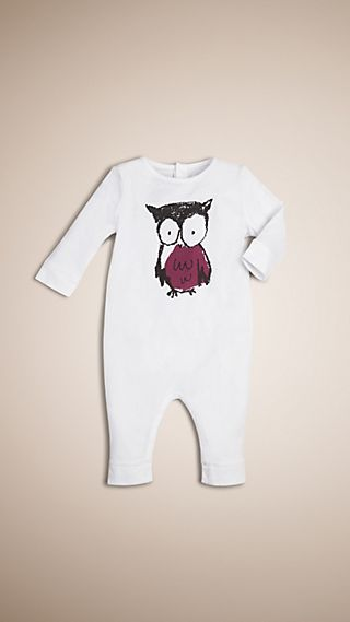 Owl Print Cotton Jumpsuit