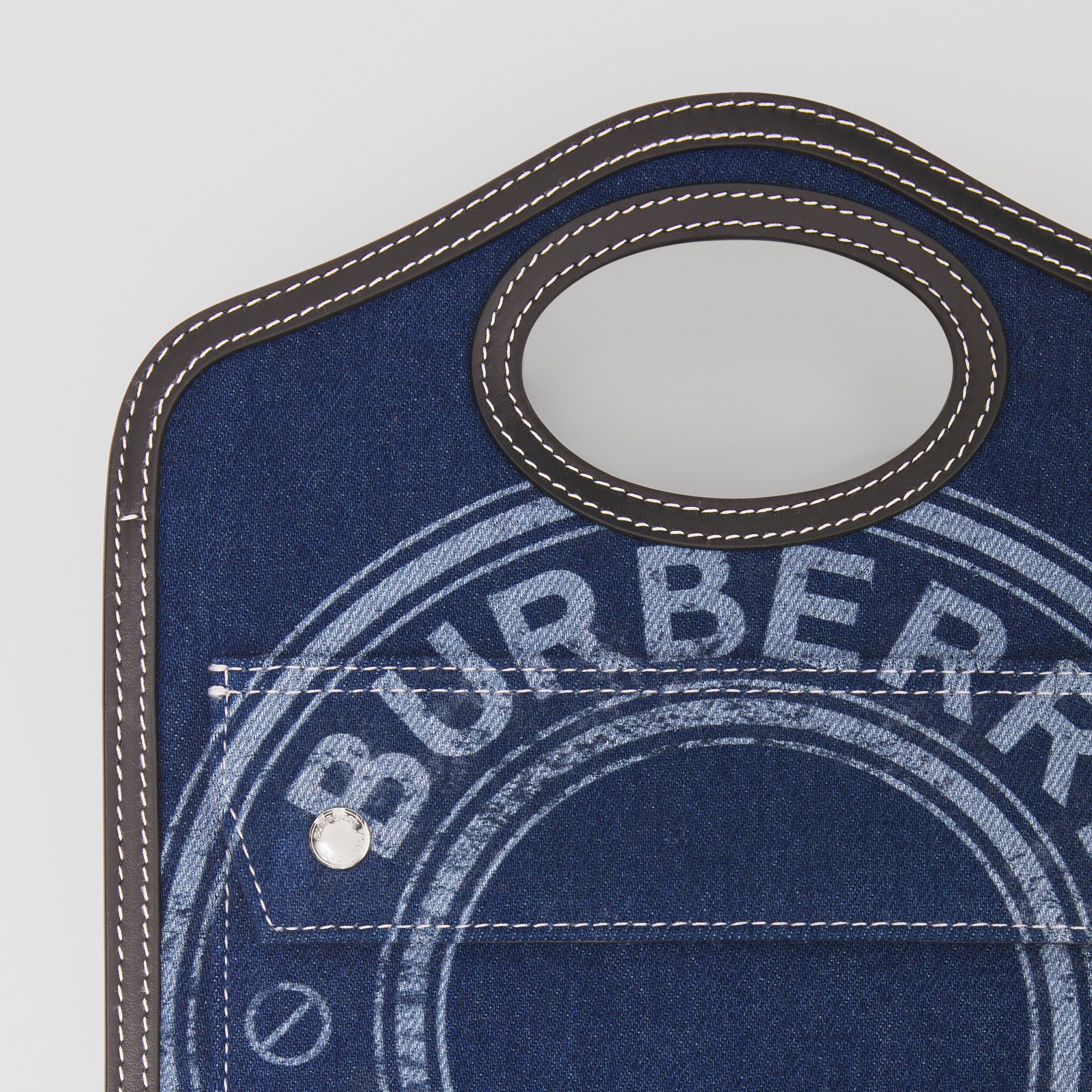 Mini Logo Graphic Denim and Leather Pocket Bag in Dark Canvas Blue - Women | Burberry - 2