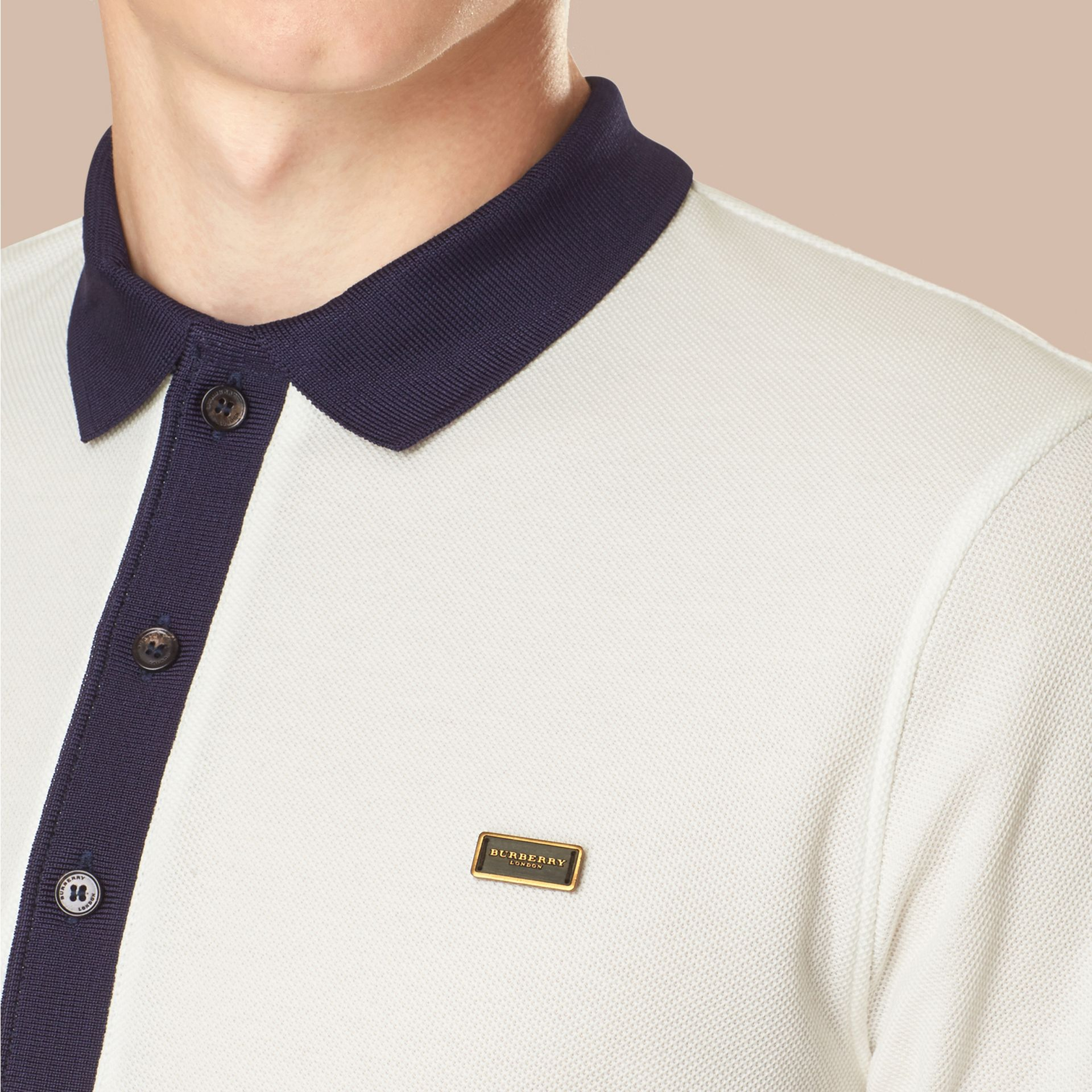 White/navy Mercerised Cotton Polo Shirt White/navy - gallery image 2