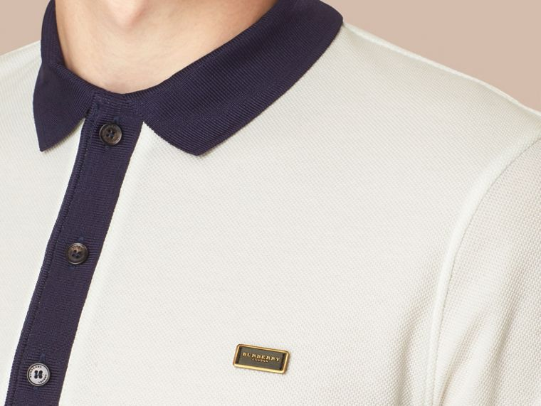 White/navy Mercerised Cotton Polo Shirt - cell image 1