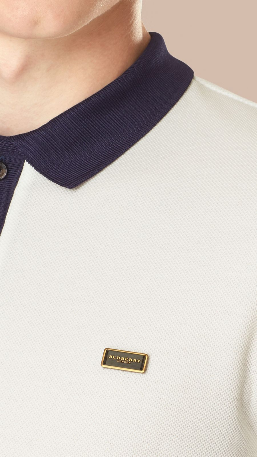 White/navy Mercerised Cotton Polo Shirt White/navy - Image 2