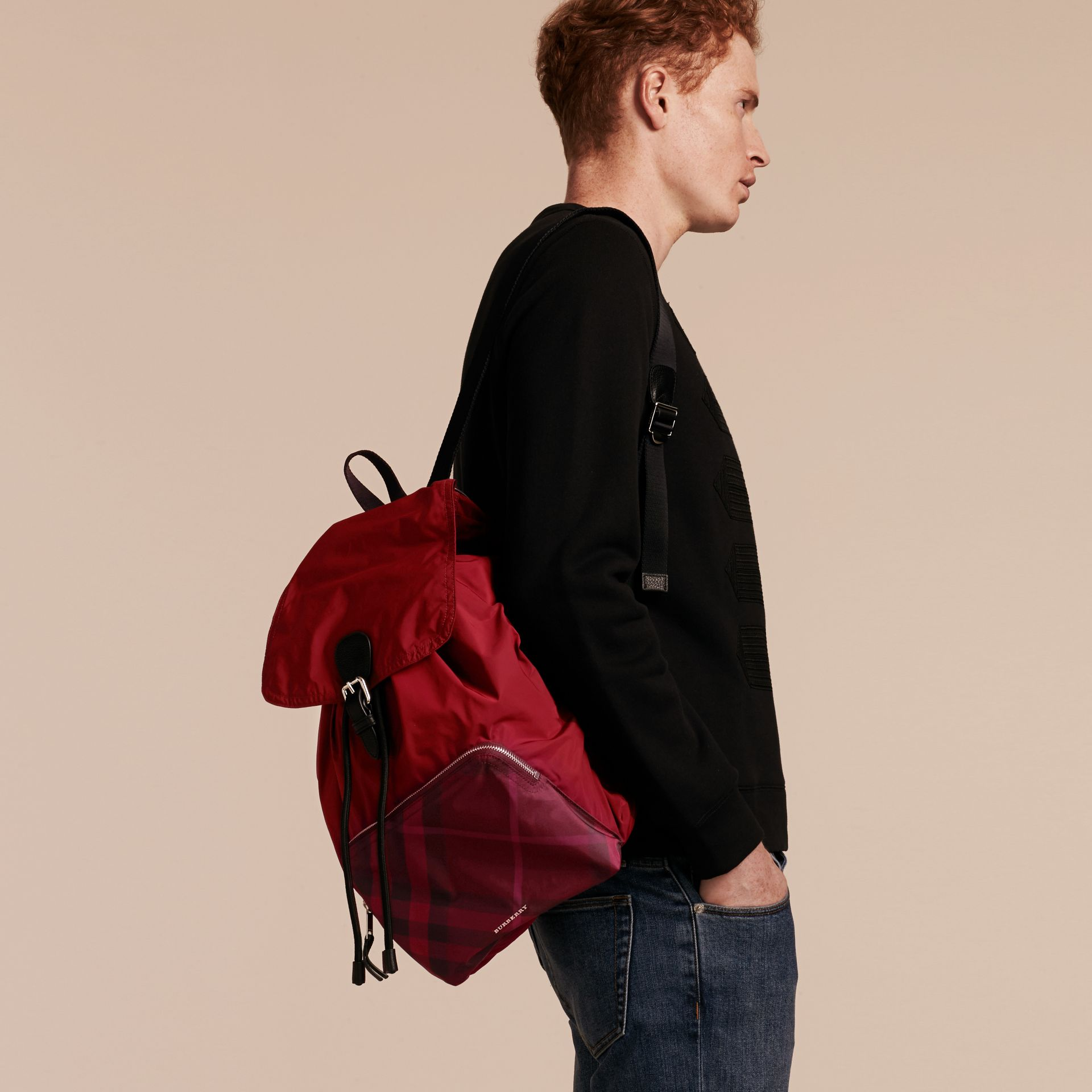 Check Detail Technical Packaway Rucksack Hawthorn Red - gallery image 3
