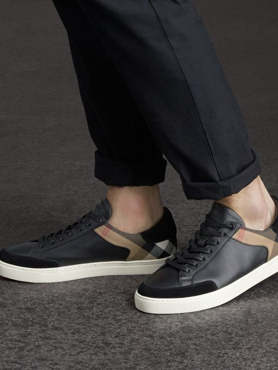 Leather and House Check Trainers in Black - Men | Burberry - cell image 2