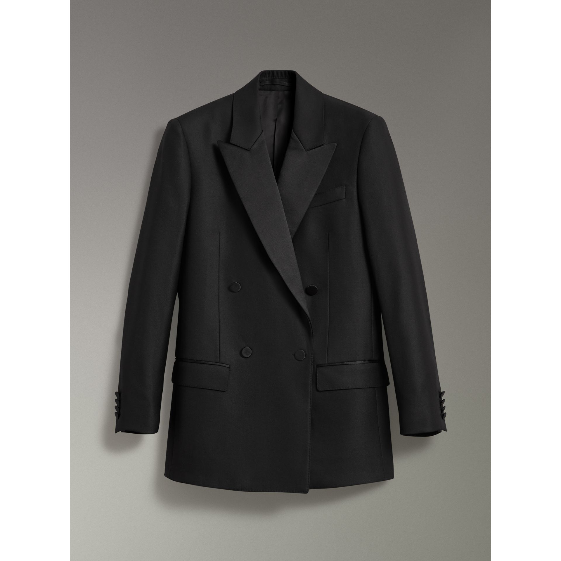 Wool Mohair Double-breasted Evening Jacket in Black - Women | Burberry - gallery image 3