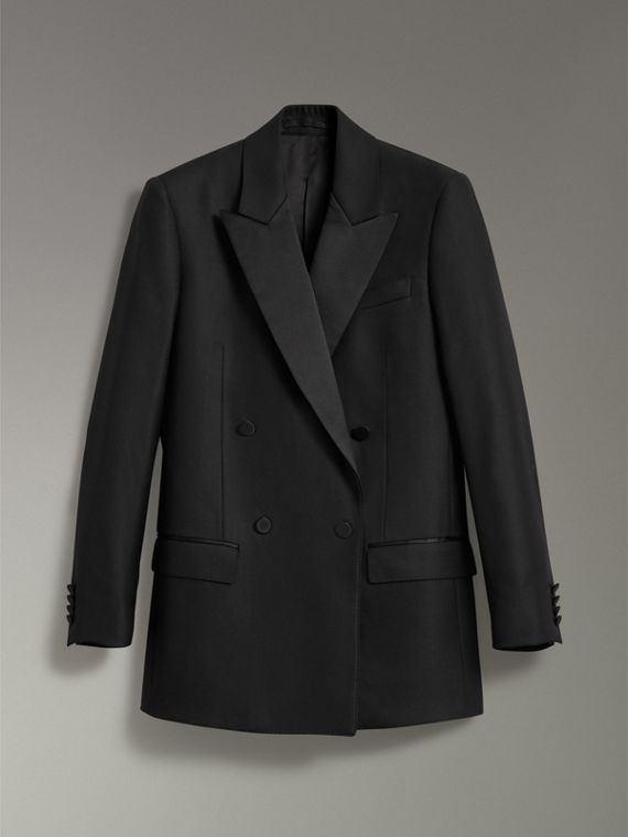 Wool Mohair Double-breasted Evening Jacket in Black - Women | Burberry - cell image 3