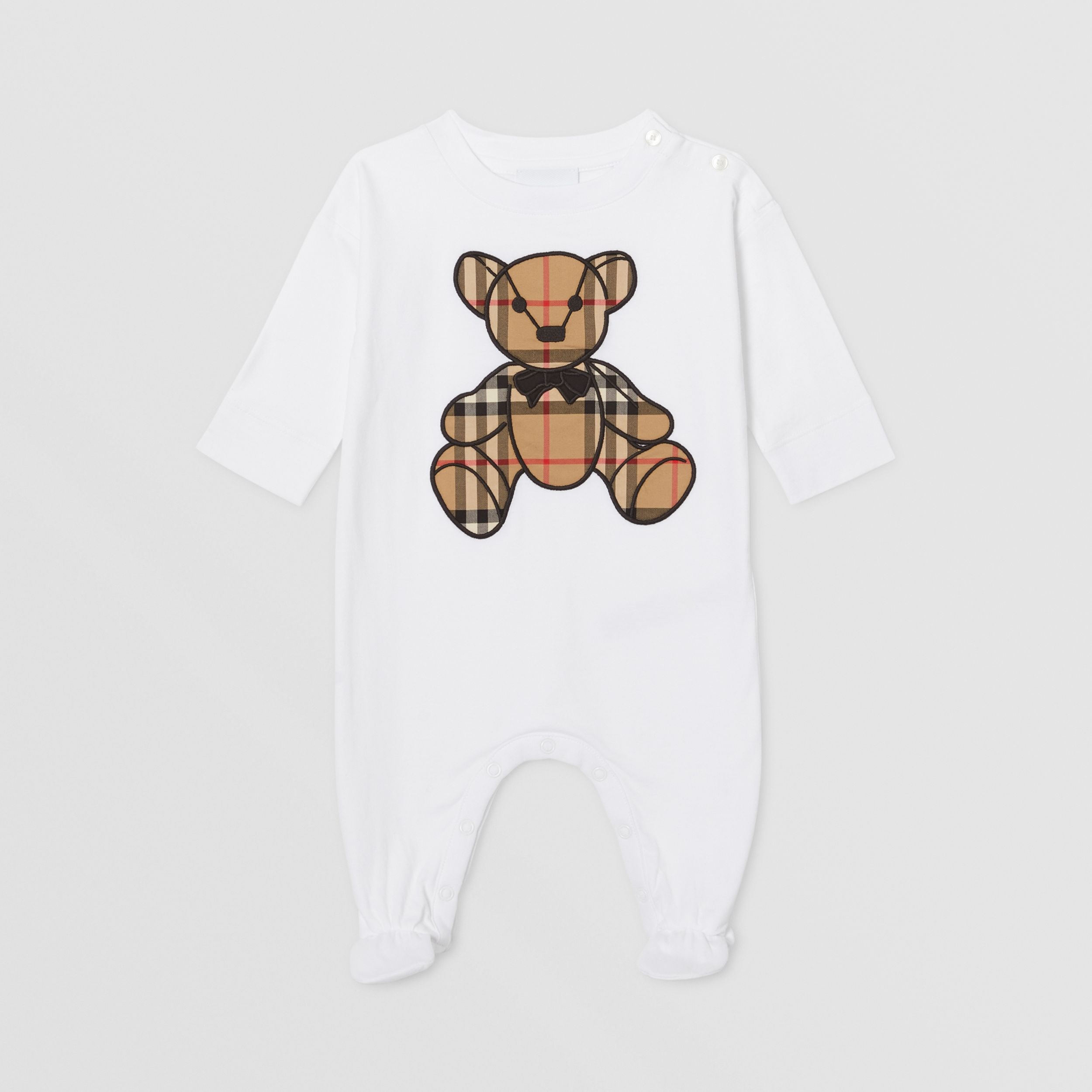 Thomas Bear Appliqué Organic Cotton All-in-one in White - Children | Burberry - 1