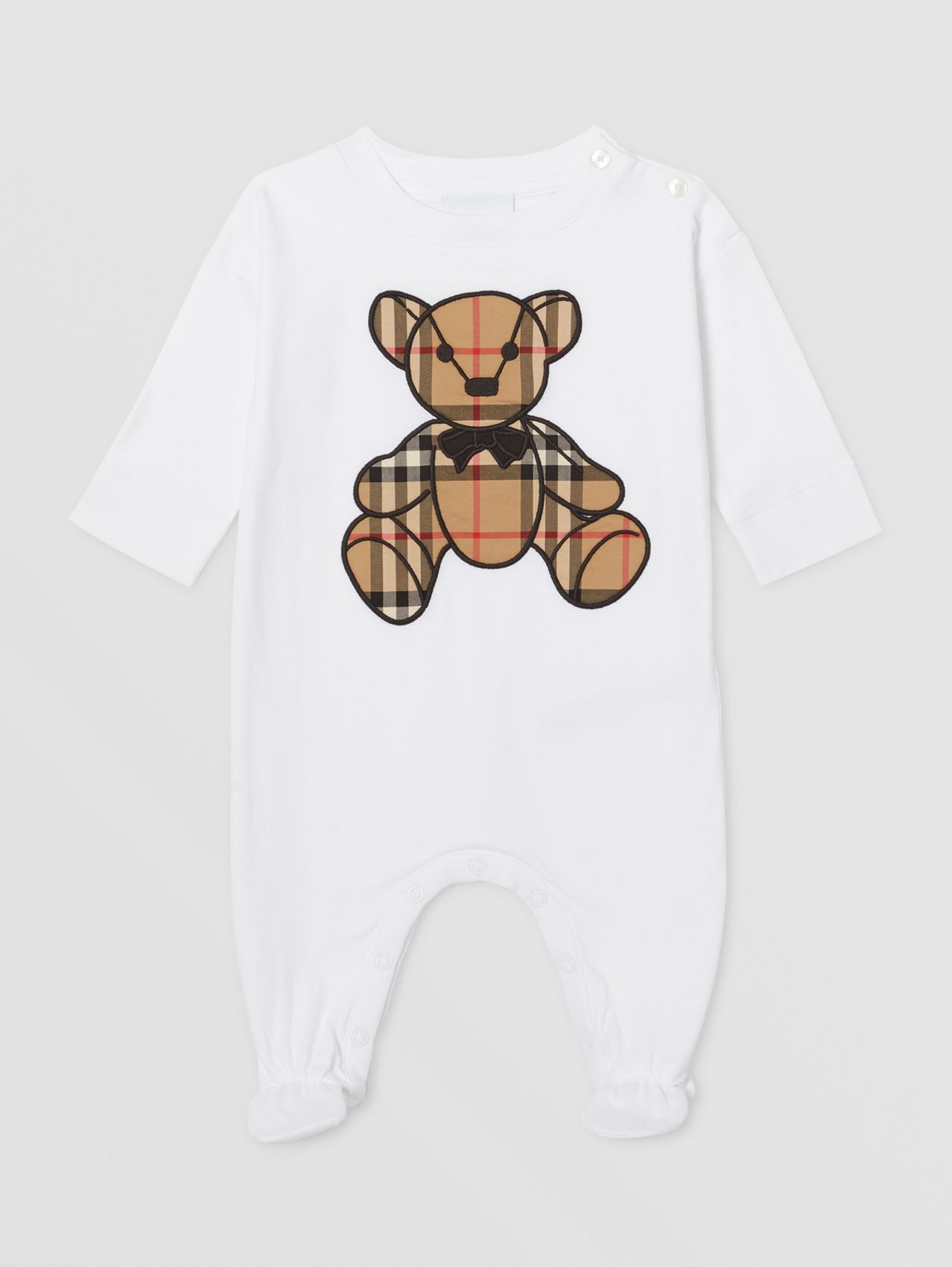 Thomas Bear Appliqué Organic Cotton All-in-one in White