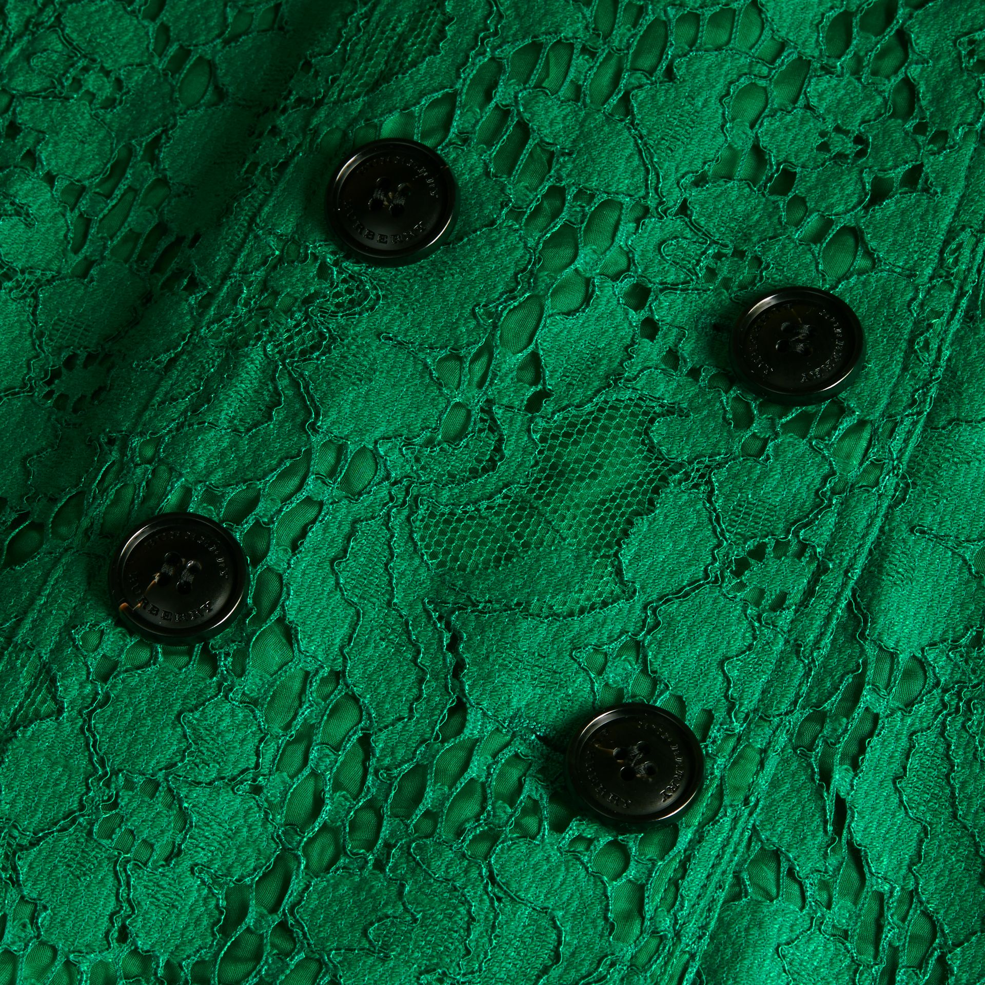 Ruffle Detail Macramé Lace Trench Coat Kelly Green - gallery image 2
