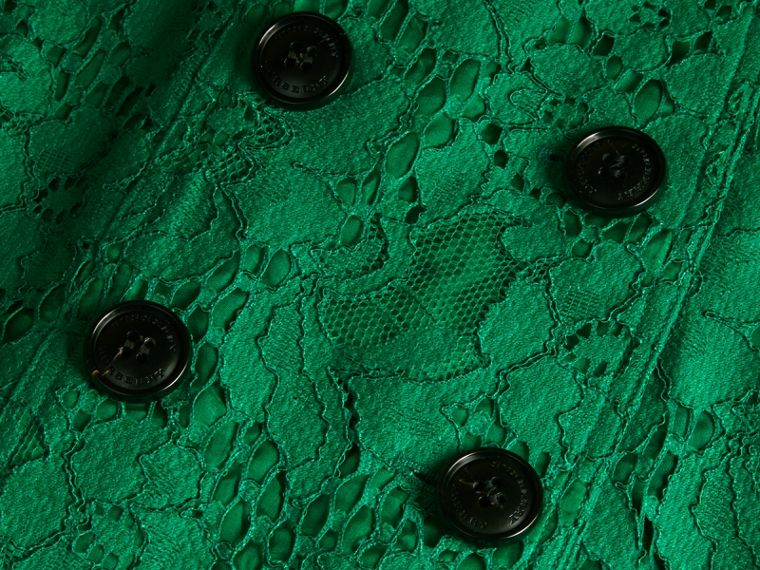 Ruffle Detail Macramé Lace Trench Coat Kelly Green - cell image 1