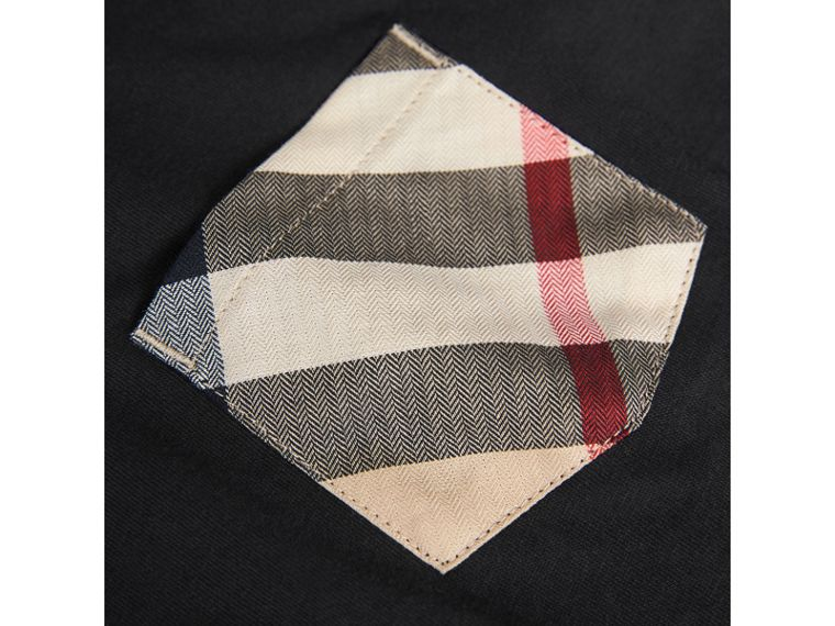 Long-sleeve Check Pocket Cotton T-shirt in Black - Boy | Burberry - cell image 1