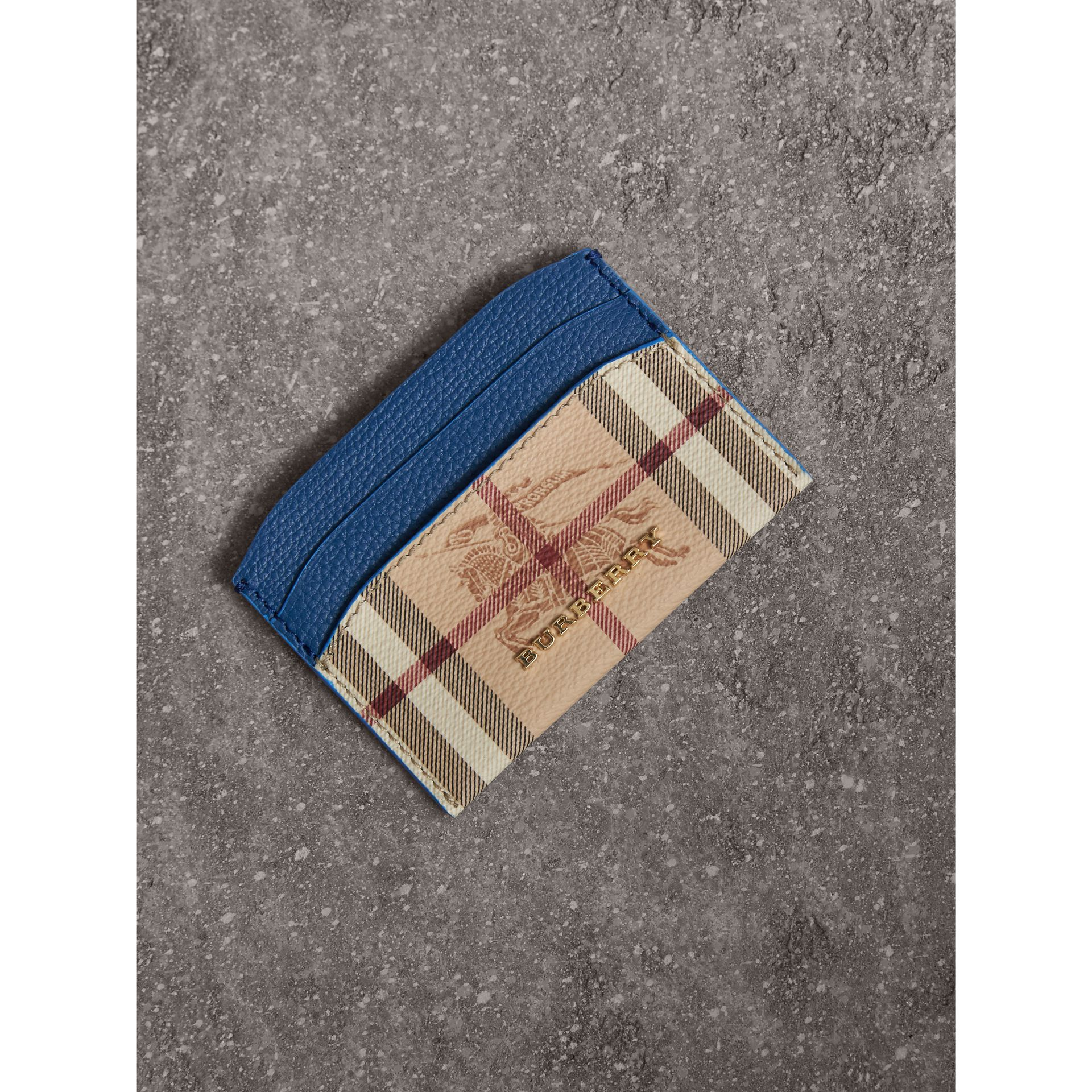 Haymarket Check and Leather Card Case in Mineral Blue - Women | Burberry - gallery image 1