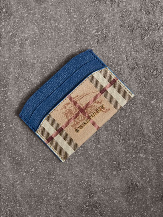 Haymarket Check and Leather Card Case in Mineral Blue