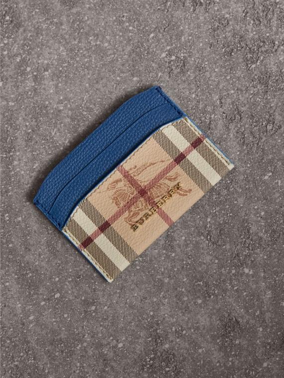 Porte-cartes à motif Haymarket check avec cuir (Bleu Minéral)