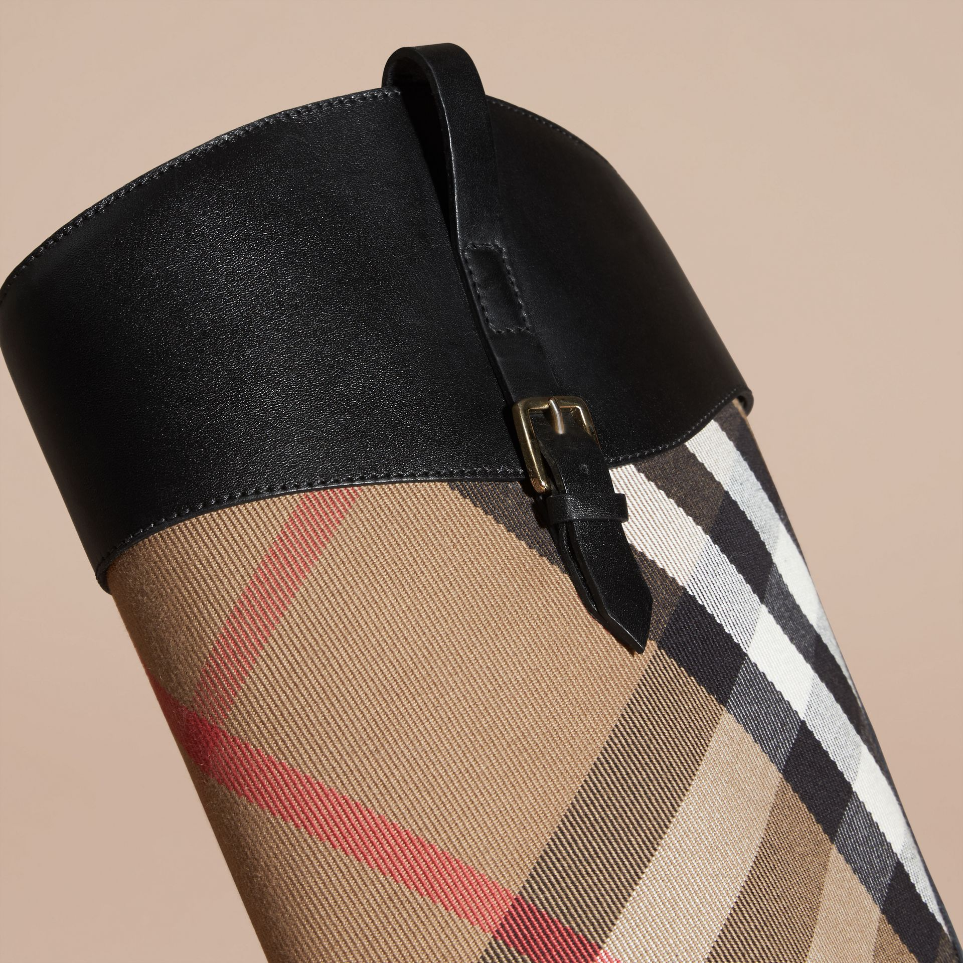 House Check and Leather Riding Boots in Black - Women | Burberry - gallery image 5
