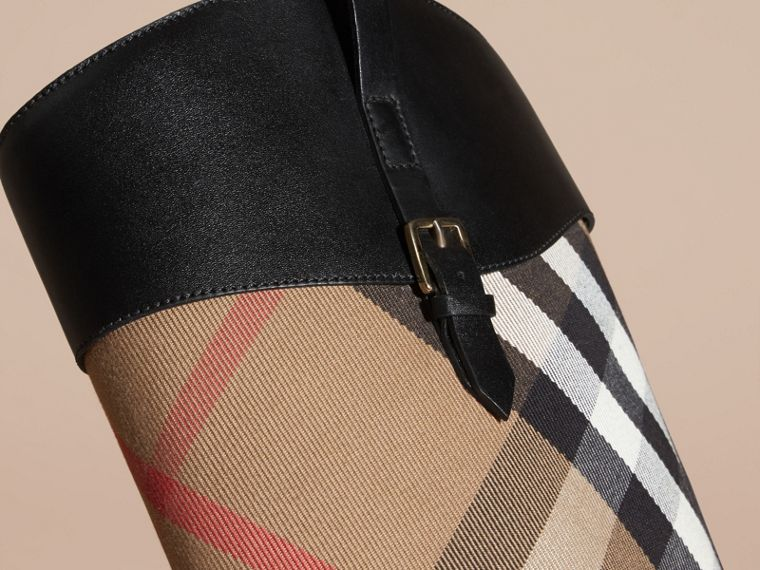 House Check and Leather Riding Boots in Black - Women | Burberry - cell image 4