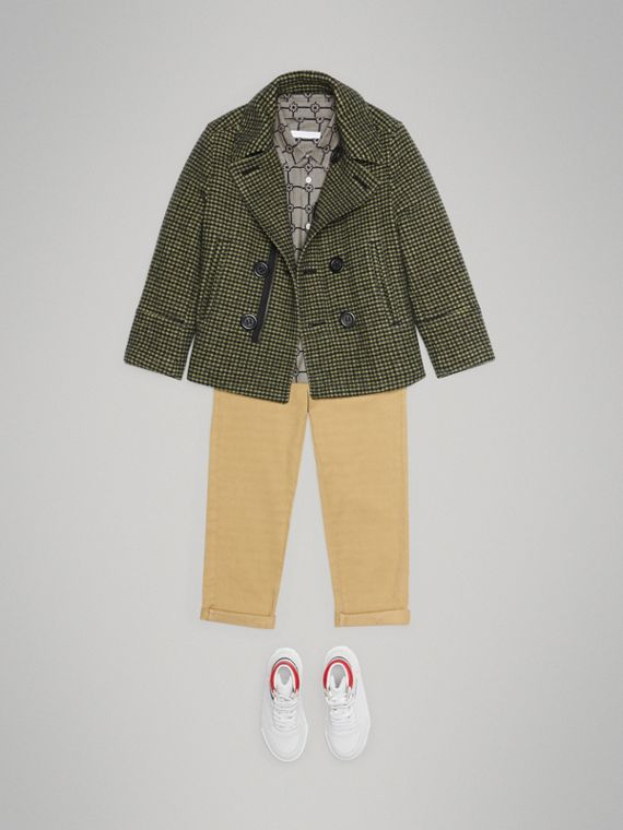 Check Wool Blend Tailored Coat in Grass Green