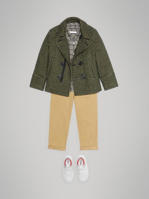 Пальто из смесовой шерсти в клетку (Зеленая Трава)