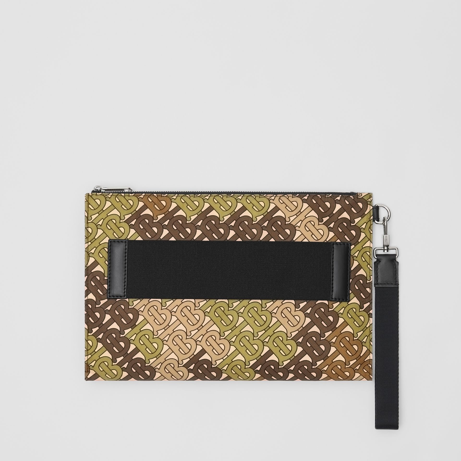 Monogram Print Zip Pouch in Khaki Green | Burberry - gallery image 0