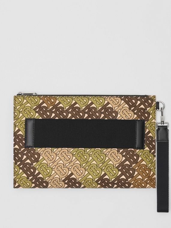 Monogram Print Zip Pouch in Khaki Green
