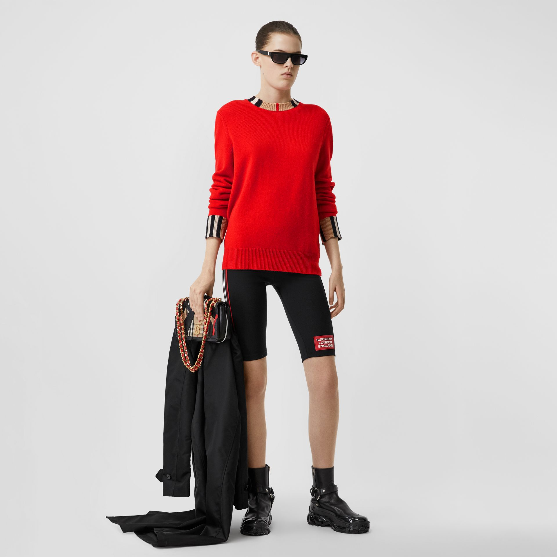 Icon Stripe Trim Cashmere Sweater in Bright Red - Women | Burberry - gallery image 0