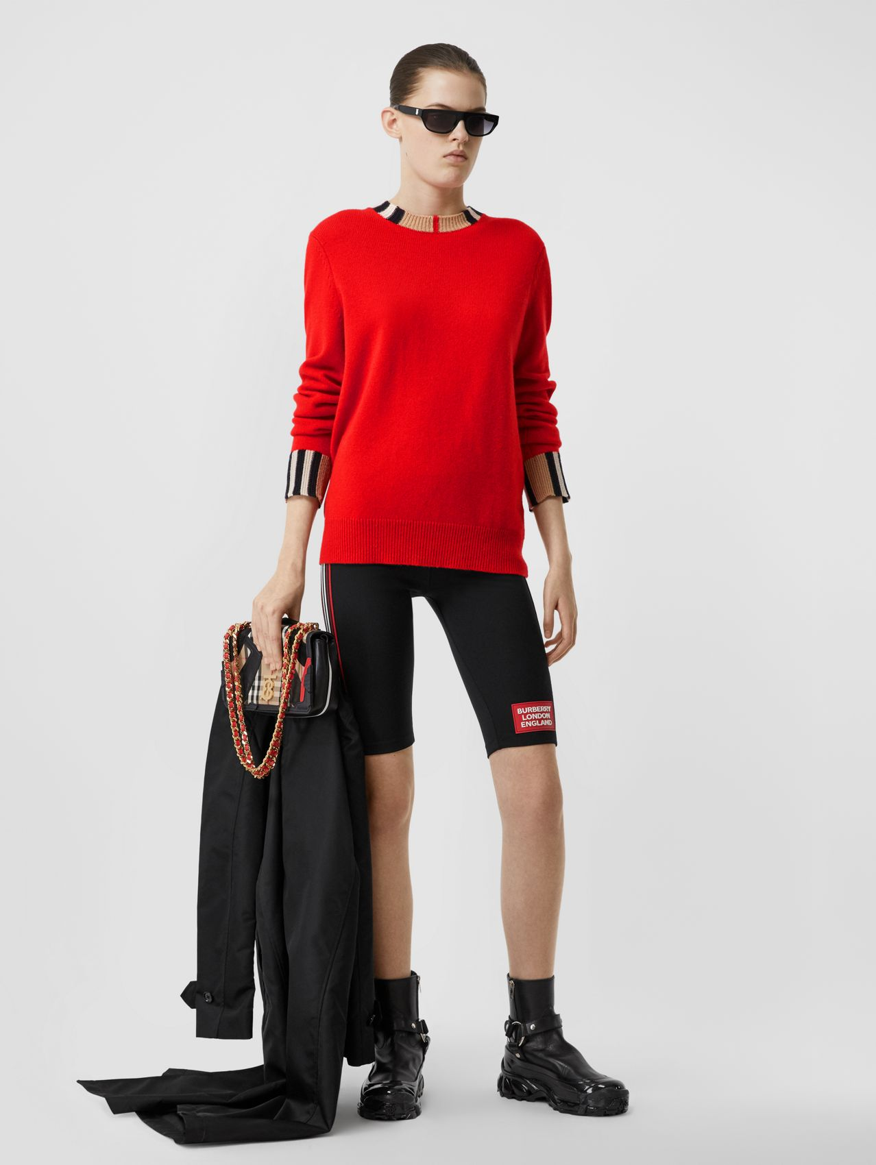 Icon Stripe Trim Cashmere Sweater in Bright Red